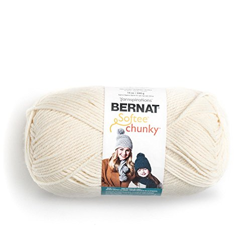 Bernat 16113030008 Big Ball Chunky Solid Yarn - (6) Super Bulky Gauge 100% Acrylic - 14 oz - Cream -  Machine Wash & ()