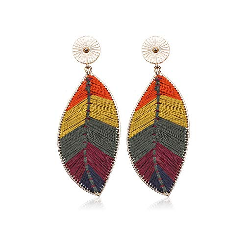 Bohemian earrings, European and American fashion ethnic style, hand-woven alloy multicolor leaf earrings earrings female earrings (yellow) ()