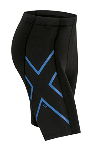 - 2XU Mens Ice Compression Shorts, black/Cool Blue, Small