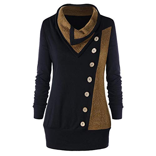 (✦HebeTop✦ Women Casual Turn-Down Patchwork Long Sleeve Side Button T-Shirt Tunic Top Solid Blouse)