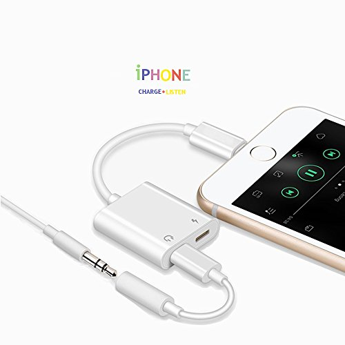 iPhone Adapter 2 in 1 for Headphones and Charger, iPhone X/8/7, iPhone Plus, Aux and Charger for iPhone, Splitter iOS 11 Compatible + Car Aux Use - White Charger and Headphone Long Lasting Piece by DS