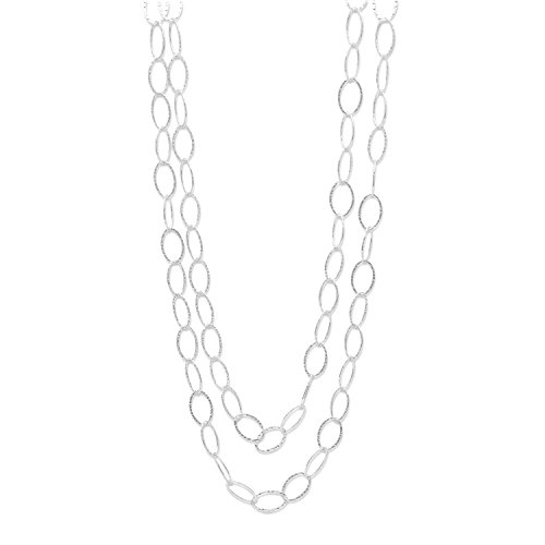 (Extra Long Oval Link Necklace 60-inch Hammered Sterling Silver)