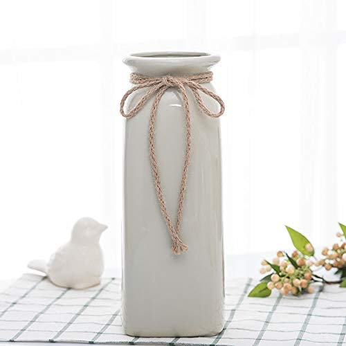Mountain head 新鮮な文学ホワイト麻ロープ花瓶セラミックドライフラワー花瓶現代のミニマリスト挿入装飾花瓶装飾 Mountain head (Size : A) B07QH4WCF8  A
