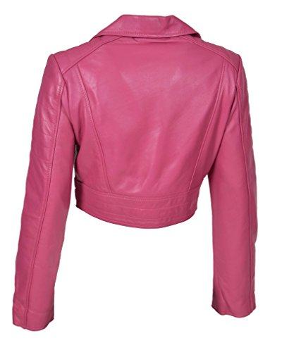 Fit Di Corto Rosa Cropped Demi Donna Sottile Giacca Biker Stile Lunghezza Cuoio Iaq56x0