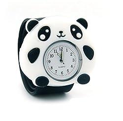 Vavna Lovely Top Boys Girls Fashion Cartoon Animal Silicone Slap Snap On Wrist Watch - Black Panda