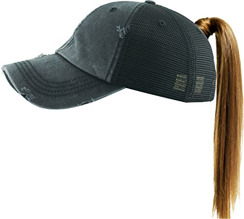 PONY-002M BLK Ponytail Messy High Bun Adjustable Mesh Trucker Baseball Cap