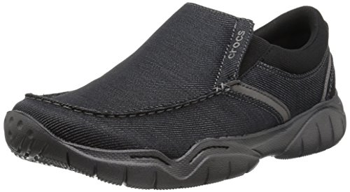crocs Men's Swiftwater Casual Slip On Fashion Sneaker, Black/Graphite, 10 M US