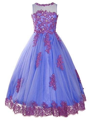 - FAIRY COUPLE Big Girl's High Neck Applique Flower Girl Wedding Dresses K0170 Size 10 Lavender