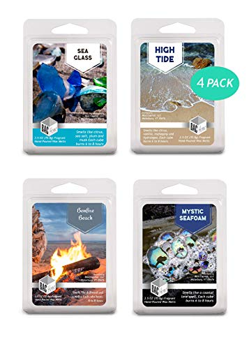 4 Pack - Beachcomber Collection Soy Blend Scented Wax Melts Wax Cubes, 10.0 oz, [24 Cubes] with High Tide, Bonfire Beach, Sea Glass and Mystic Seafoam