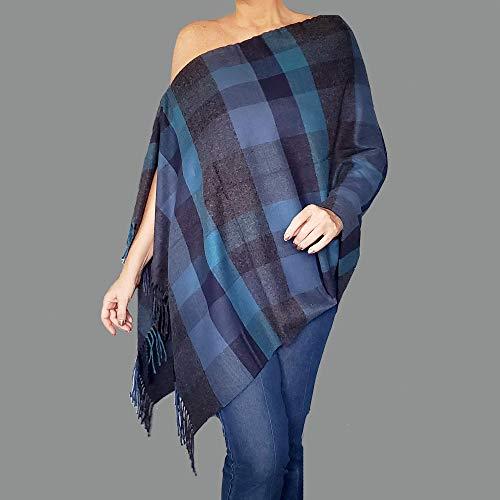 Blue Flannel Shawl Grey Plaid Poncho Scarf Long Soft Wrap By ZiiCi