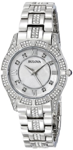 Bulova Women's 96L116 Swarovski Crystal Stainless Steel Watch Bulova Ladies Crystal Bezel