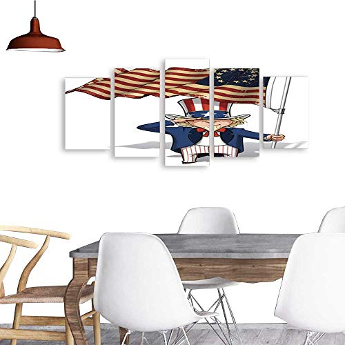 5 Piece Wall Art Painting Uncle Sam Saluting The Betsy Ross Flag.The Picture Decor for Home ()