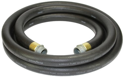 Goodyear 1729-1000-20 Farm Fuel  1-Inch by 20-Feet Transfer Hose with Threaded Male Couplings on Both Ends, Black