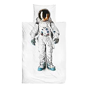 Snurk White Single Size Astronaut (140 X 200) Duvet Cover With Pillow Case