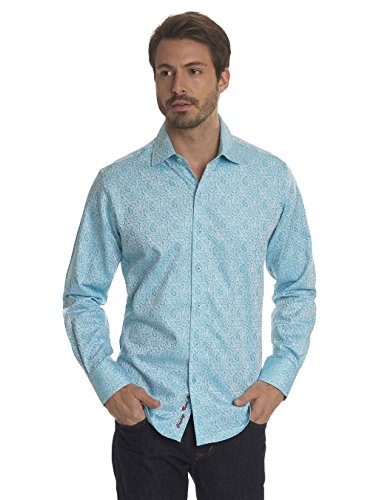 Robert Graham Windsor Long Sleeve Classic Fit Shirt Turquoise 3Xlarge by Robert Graham