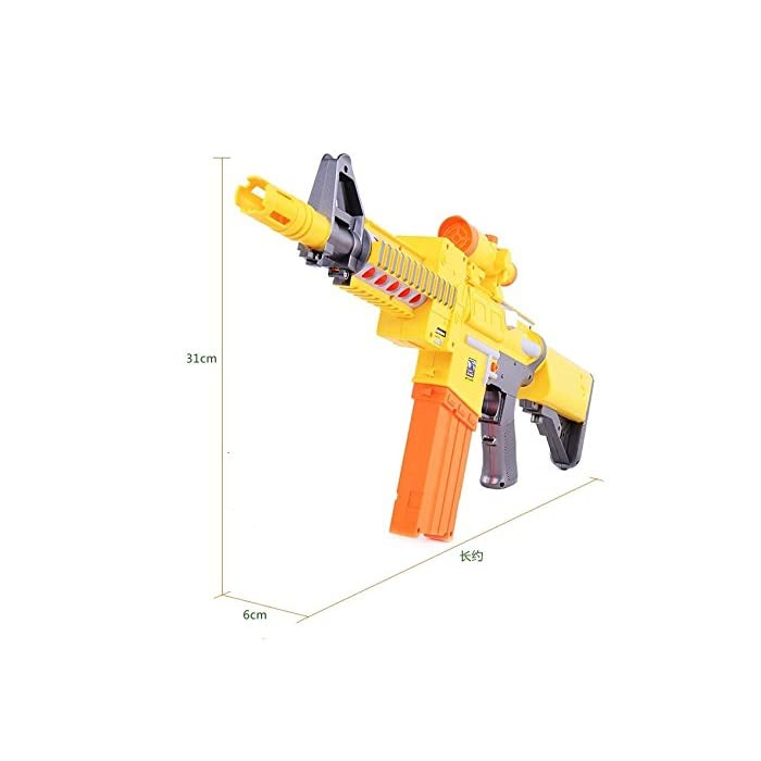418BRgFN0AL Pistola de juguete eléctrica semiautomática con balas de espuma. Disparado semiautomático. Incluye 10 balas normales y 10 de succión. Recarga rápida. Para niños a partir de 6 años. Especificaciones: funciona con 5 pilas AA (no incluidas). Tamaño: 72 x 6,5 x 24,5 cm.