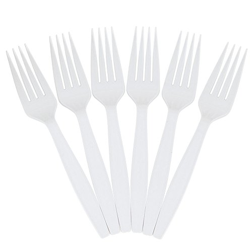 JAM PAPER Big Party Pack of Premium Plastic Forks - White - 100 Disposable Forks/Box