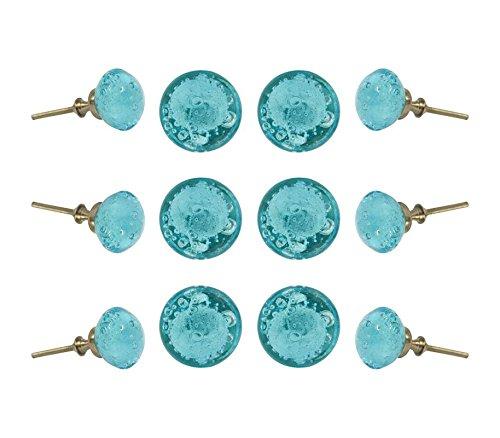 Set of 12 Glass Jones Bead Light Blue with Silver Chrome Finish Hardware Cabinet Knobs Kitchen Cupboard Dresser Drawer Door Knob Pull by Trinca-Ferro