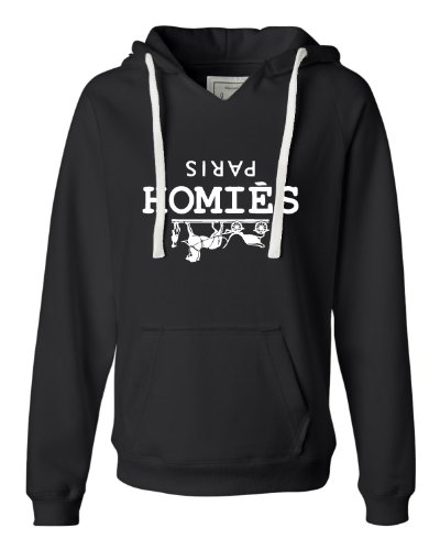 Medium Black Womens Homies Paris Deluxe Soft Hoodie