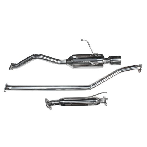 DC Sports SCS7024 Polished Stainless Steel Single Canister Cat-Back Exhaust ()