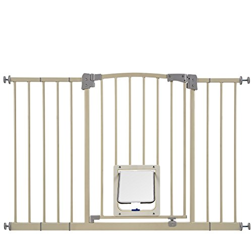 Paws & Pals Dog Gate Multifunctional Indoor Metal Baby Barrier - Adjustable Tall-Wide Fence for House Doorway with Lockable Pet Door Flap- 53' Max Extendable