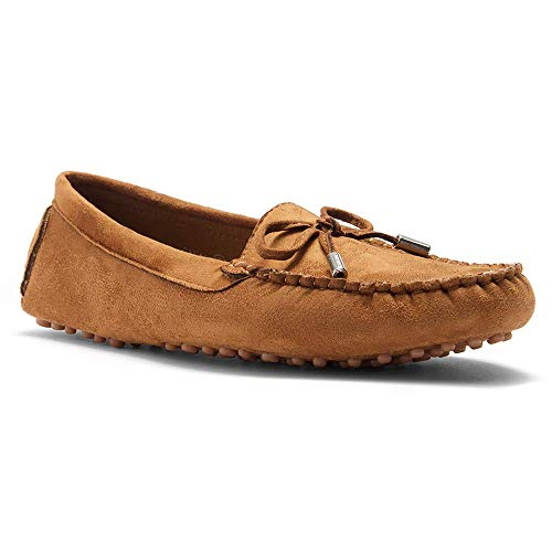 - Herstyle Women's Canal -Moccasin Flat with Metallic Tipped Bow Tan 6.0