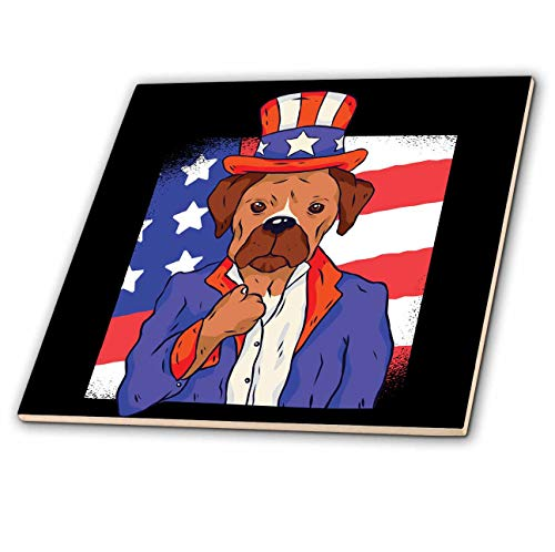 Portrait 0.25 Thick Glass - 3dRose Sven Herkenrath Flag - Funny Dog with United States Flag USA Patriotic - 6 Inch Glass Tile (ct_317536_6)