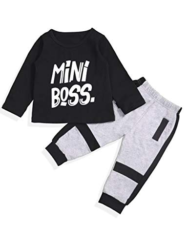 Baby Boy Long Sleeve Mini Boss Printing Top and Pants Outfit Set