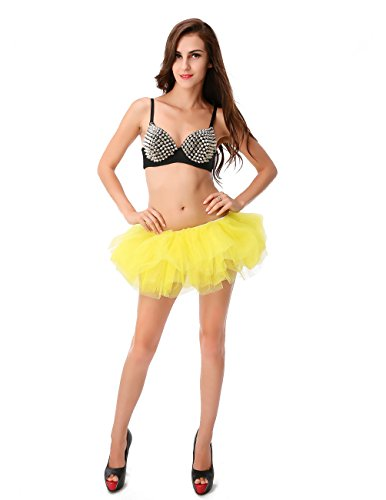 Dressystar Women's Adult Tulle Tutu Ballet Dance Fluffy Skirt Assorted Colors (Yellow Tutu For Adults)