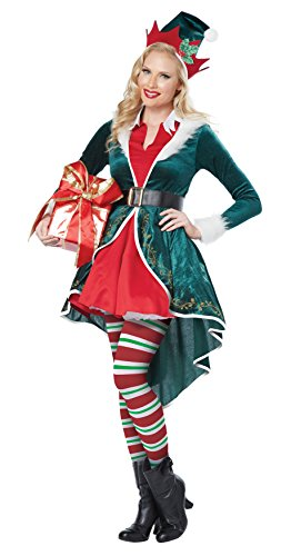 California Costumes Women's Sexy Elf Adult, Green/Red, (Santas Green Helper Sexy Costumes)