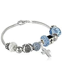 Sterling Silver Faith Hope Love Bead Bracelet