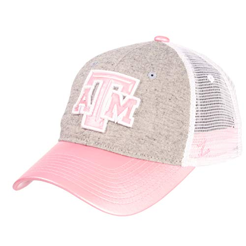Zephyr NCAA Texas A&M Aggies Women's Sasha Relaxed Hat, Adjustable, White/Pink/Grey