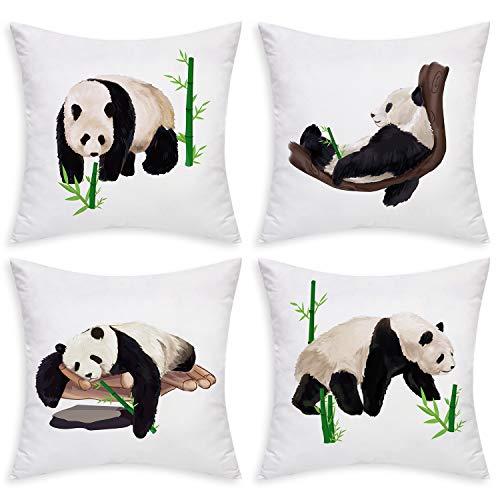 Bamboo Throw Pillow - BLEUM CADE Panda Throw Pillow Covers Cute Panda Bamboo Pillow Case Set of 4 Decorative Cushion Cover for Sofa Bed Car Office (Black White, 18 x 18 Inch)
