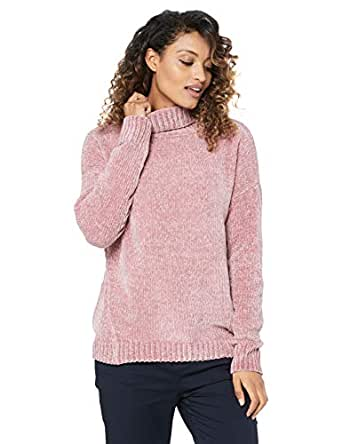 French Connection Women's Chenille Turtle Neck Jumper, Dusty Pink, Extra Small