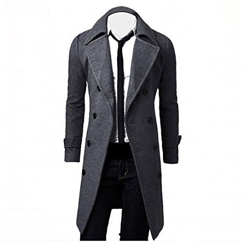 Han Shi Long Jacket, Men Fashion Double Breasted Slim Stylish Trench Coat Parka Tops (L, Grey)