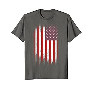 4th July USA Flag T-shirt 4 Red White Blue Stripes Star Tee
