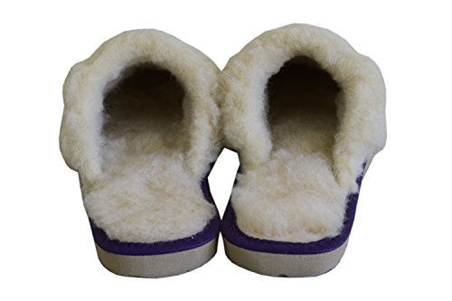 Lana Di Donna Scamosciata In Da Pecora Purple Fodera Pelle Pantofole E 508Z6Awnq