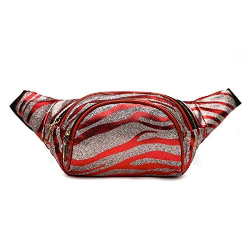 Sparkling Zebra Stripe Fanny Pack Waist Fashion Hip Bag Glitter Belt Bag Red