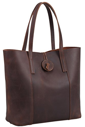 Polare Rustic First Grain Cowhide Leather Tote Handbag Purse Everyday Work (Womens Grain Cowhide Leather)