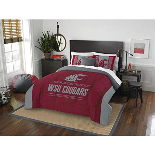 3 Piece NCAA Washington State Cougars Comforter Full/Queen Set, Sports Patterned Bedding, Featuring Team Logo, Fan Merchandise, Team Spirit, College Football Themed, Red Grey Multi, For Unisex