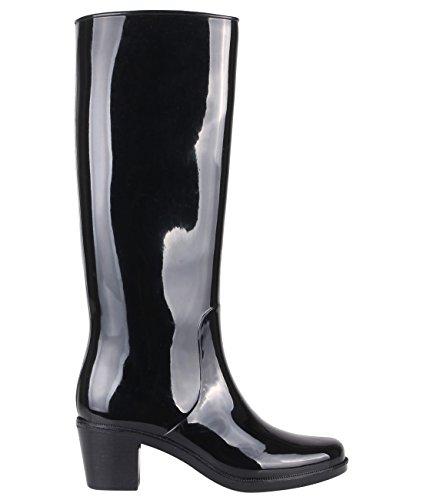 KRISP Botas de Agua Mujer Tacón Medio Adulto Moda Negro (15561)