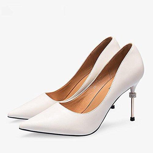 Feifei Women's Shoes Summer Fashion Diamond 9CM High-Heeled Shallow Mouth Jobs High-Heeled Shoes Single Shoes Beige LDc2R