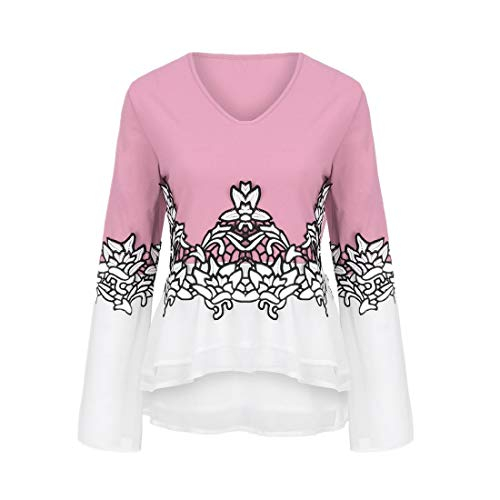 LEXUPA Women Plus Size Flower Lace Color Block Chiffion V-Neck Flare Sleeve Blouse Top Printed Shirt(Pink,XXX-Large)