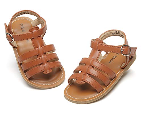 THEE BRON Girl's Toddler/Little Kid Classic Sandals Flat Shoes (11M - 7.3 inch -18.5cm, Brown)]()