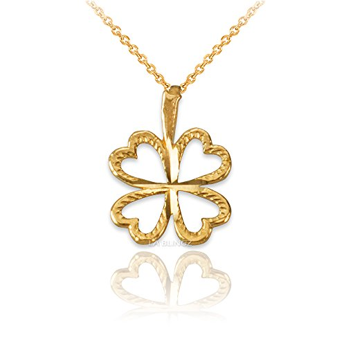 LA BLINGZ 14K Yellow Gold Tiny Irish Shamrock Clover DC Charm Necklace (16)