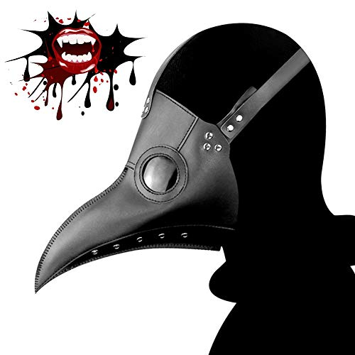 Black Plague Mask (Plague Doctor Mask, Halloween Cosplay Bird Mask, Gothic Retro Steampunk Props for Halloween Costume.)