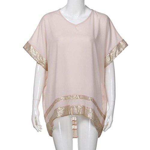 V Pailletten Ausschnitt Damen Rosa Tops Sommer Halbarm mit Mode Capelet Verziert Sparkly Elegant Reine Plus Rosennie Größe Bluse Casual Irregulär Farbe Frauen ZZ7awqBfS