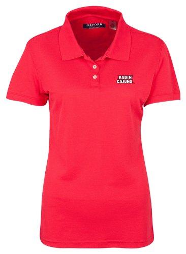 (NCAA Louisiana Lafayette Ragin Cajuns Women's 3 Button Polo Shirt with Banded Sleeves (Cardinal, X-Small))