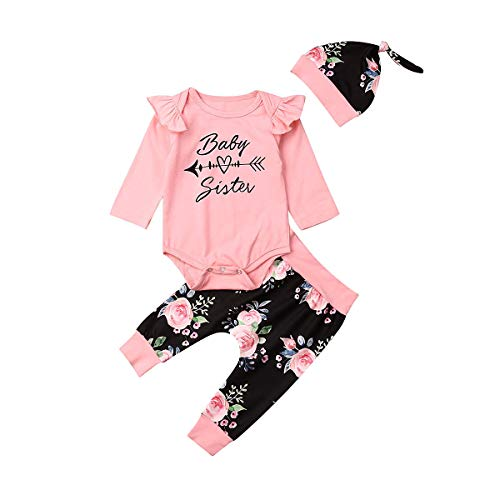 Newborn Infant Baby Girl Romper Floral Pants Headband Long Sleeve 3Pcs Outfits Set (0-6 M, Baby Sister)