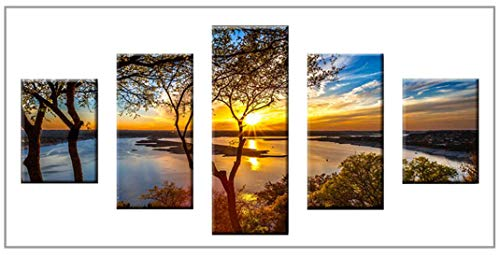 - DIY 5D Diamond Painting Kit for Adults, Kingshalor Full Drill Diamond Embroidery Cross Stitch Picture Arts Craft for Home Wall, 5 Panels of Splicing Painting, 32x16inch/80x40cm (Sunset)